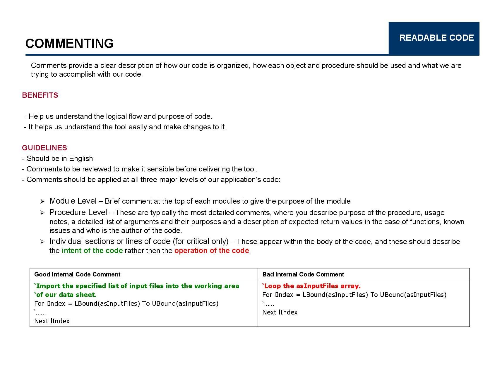 VBA Coding Best Practice Manohar Swamynathan